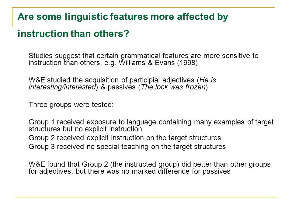 Are some linguistic features more affected by instruction than others