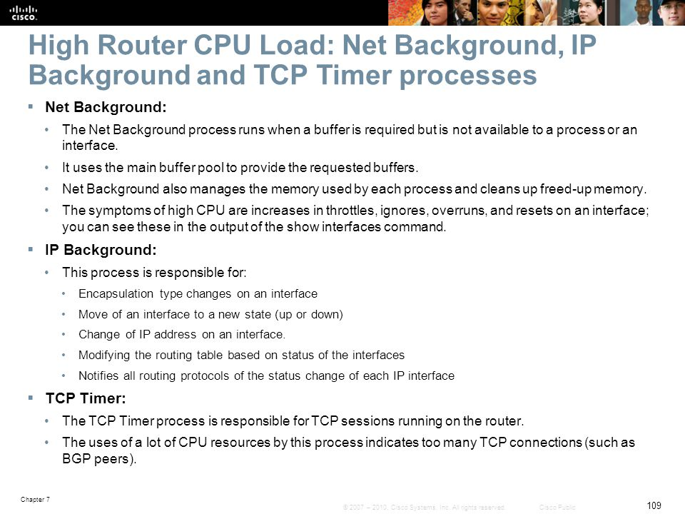 High Router CPU Load: Net Background, IP Background and TCP Timer processes