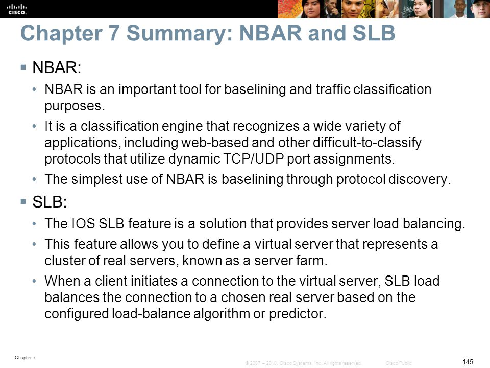 Chapter 7 Summary: NBAR and SLB