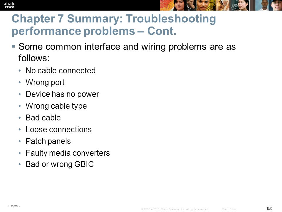 Chapter 7 Summary: Troubleshooting performance problems – Cont.