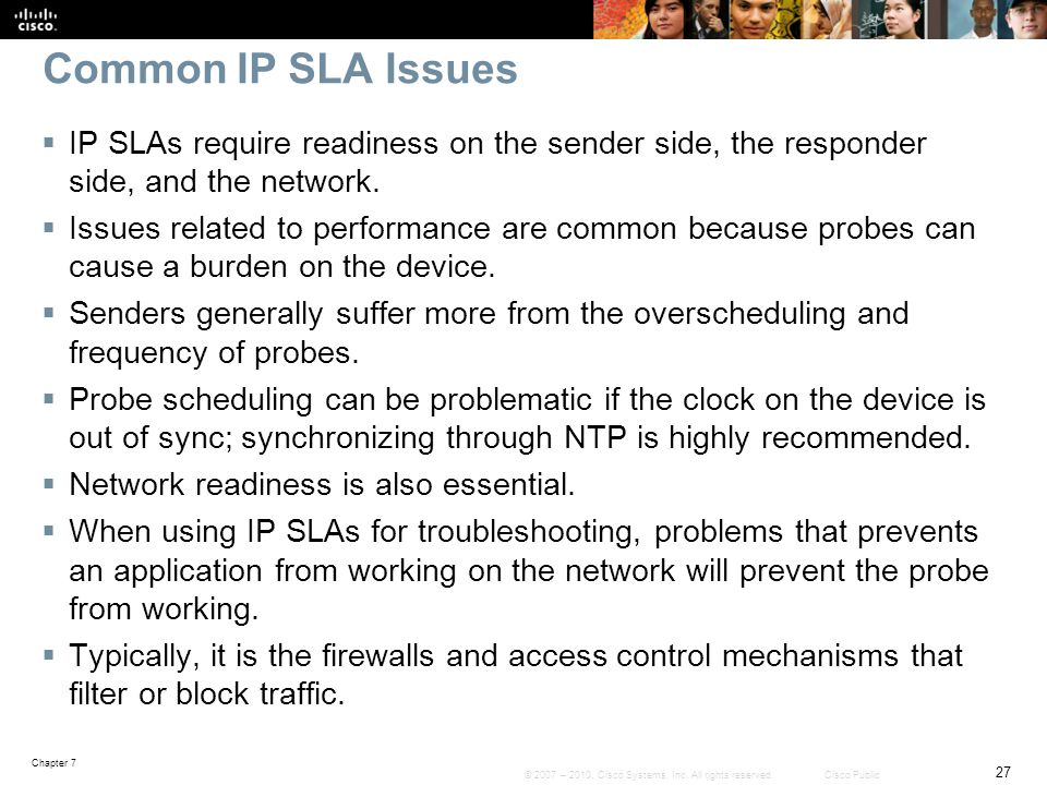 Common IP SLA Issues IP SLAs require readiness on the sender side, the responder side, and the network.