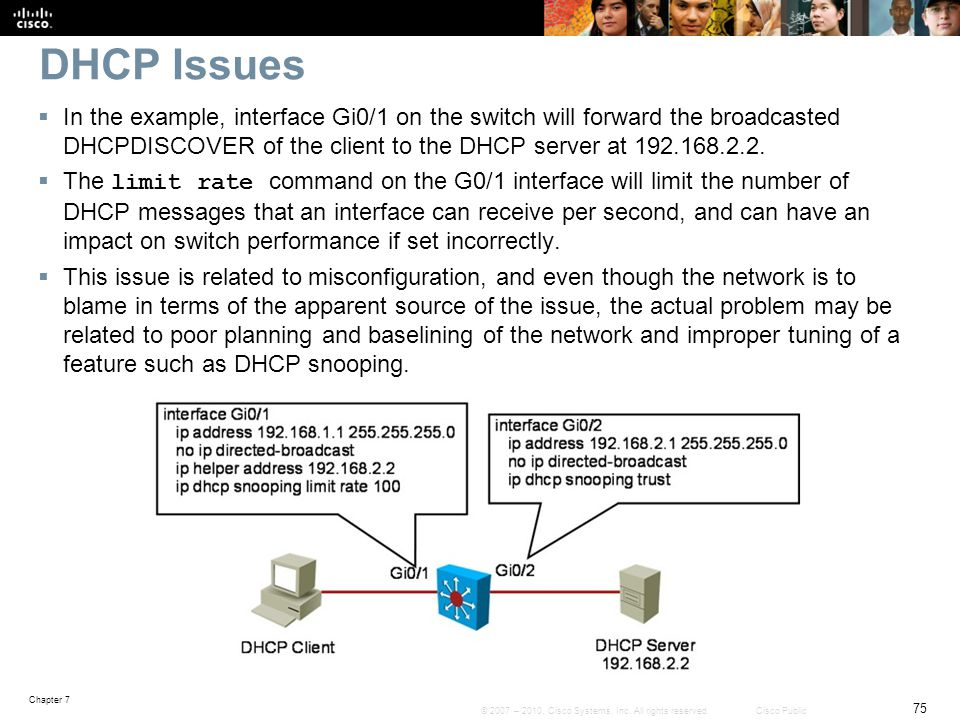 DHCP Issues In the example, interface Gi0/1 on the switch will forward the broadcasted DHCPDISCOVER of the client to the DHCP server at