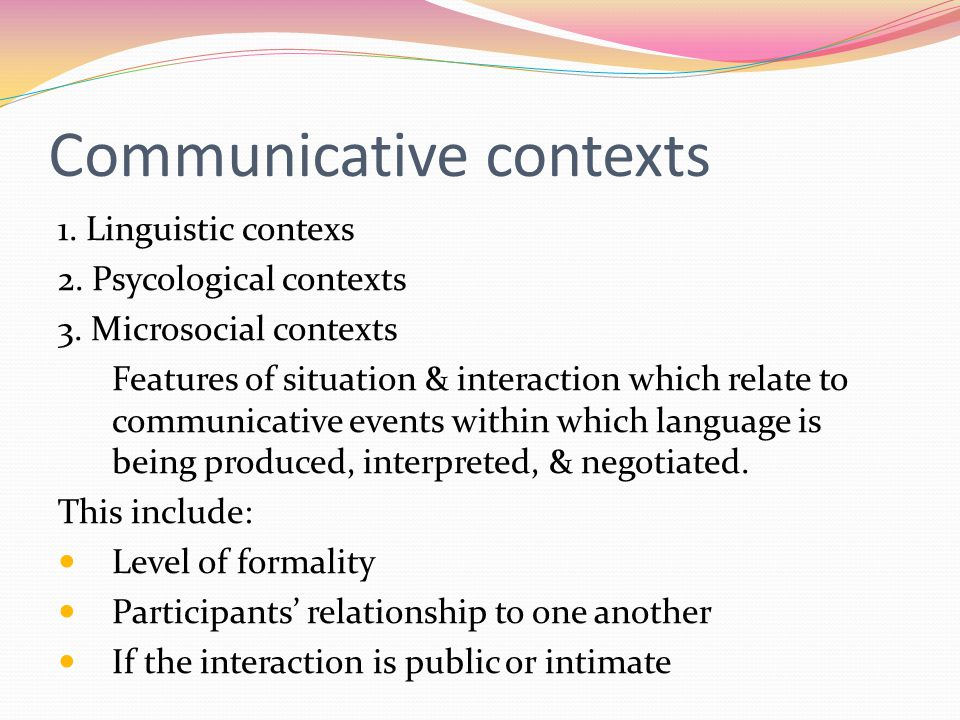 Communicative contexts