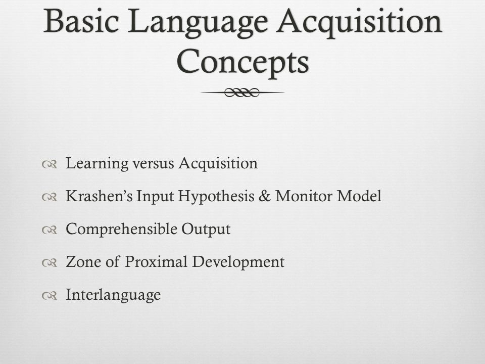 the input output relationship in first language acquisition