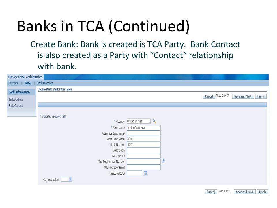 Banks in TCA (Continued)