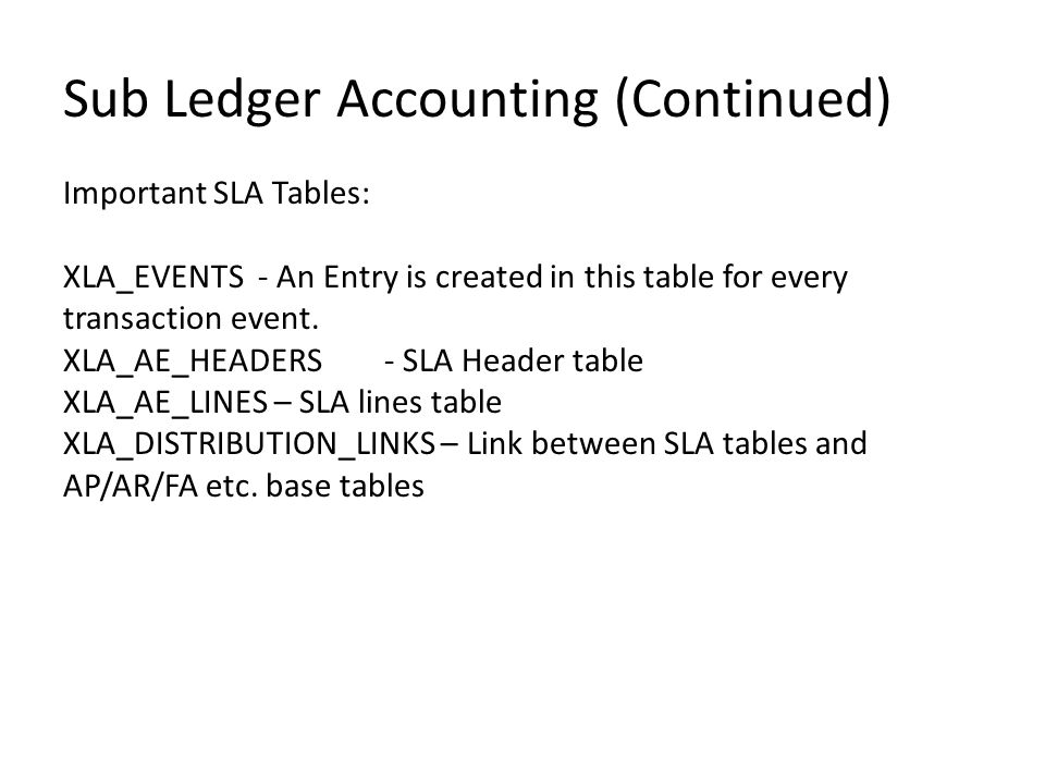Sub Ledger Accounting (Continued)