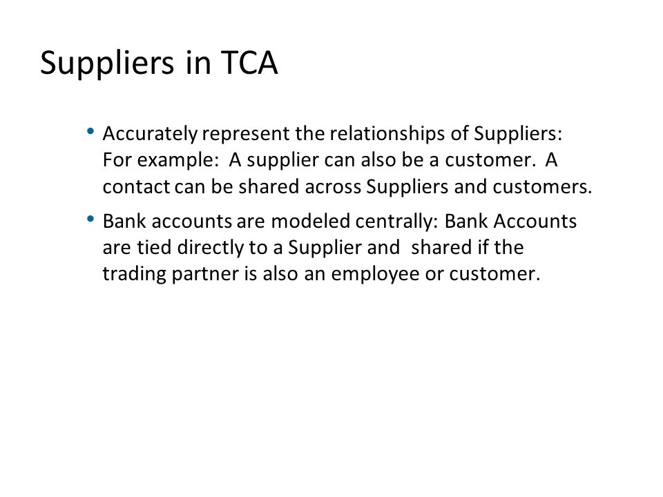 Suppliers in TCA