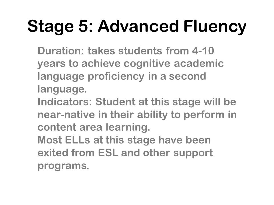 Stage 5: Advanced Fluency
