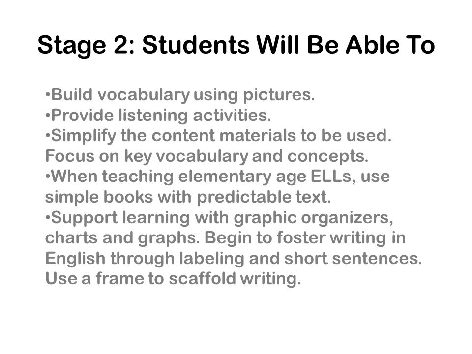 Stage 2: Students Will Be Able To