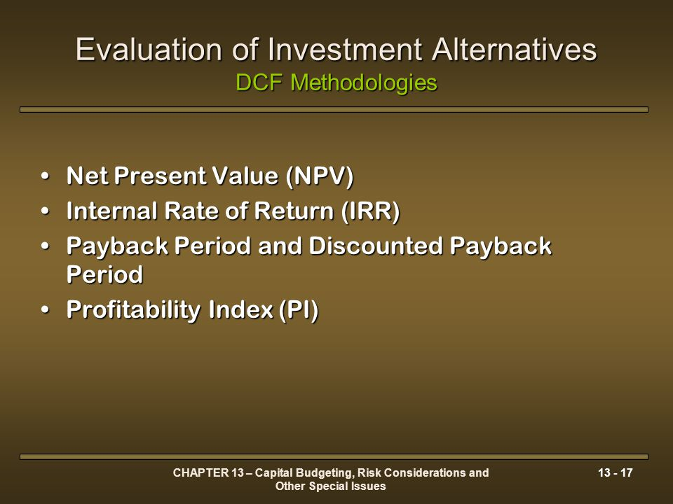 net present value npv payback period Unlike the more widely used payback period, npv accounts for the time value of money by expressing future cash flows in terms of their value today it recognizes that money has a cost (interest), so that you would prefer to have $100 today to having $100 a year from now if you earn 10% interest on your.
