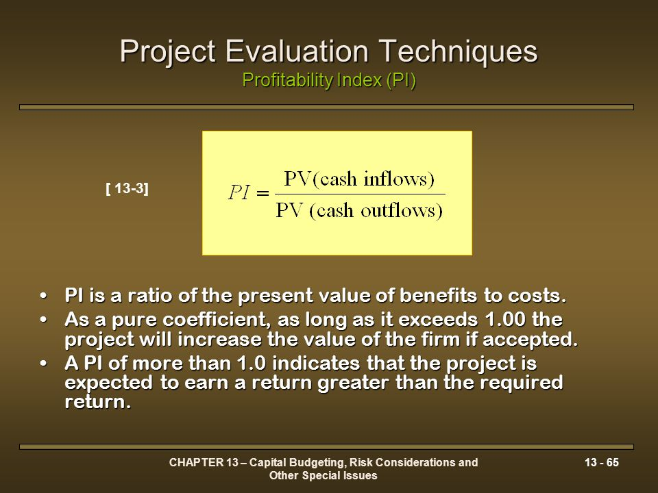 project profitability index Measuring project profitability analysis is probably the single most important thing in any a project driven business.