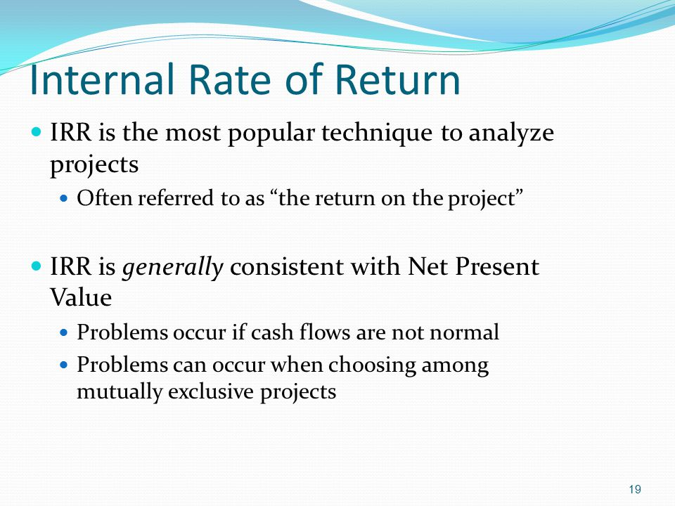 the internal rate of return irr and the net present value npv essay In a previous article, i discussed the shortcomings associated with using either the internal rate of return (irr) or net present value (npv) as a return measure for income-producing real estate assets.