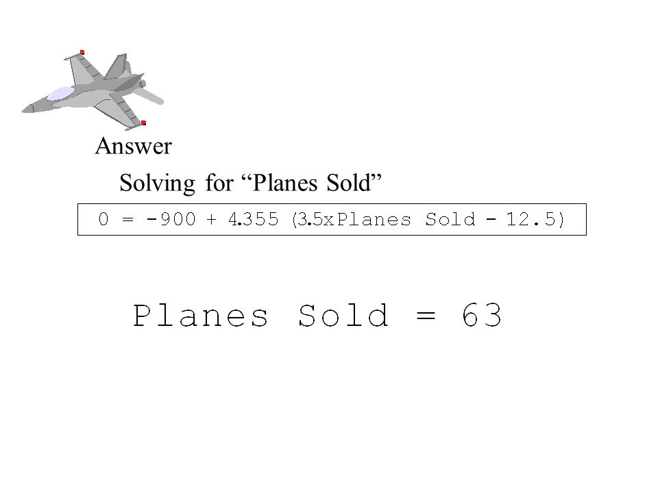 Break Even Analysis Answer Solving for Planes Sold