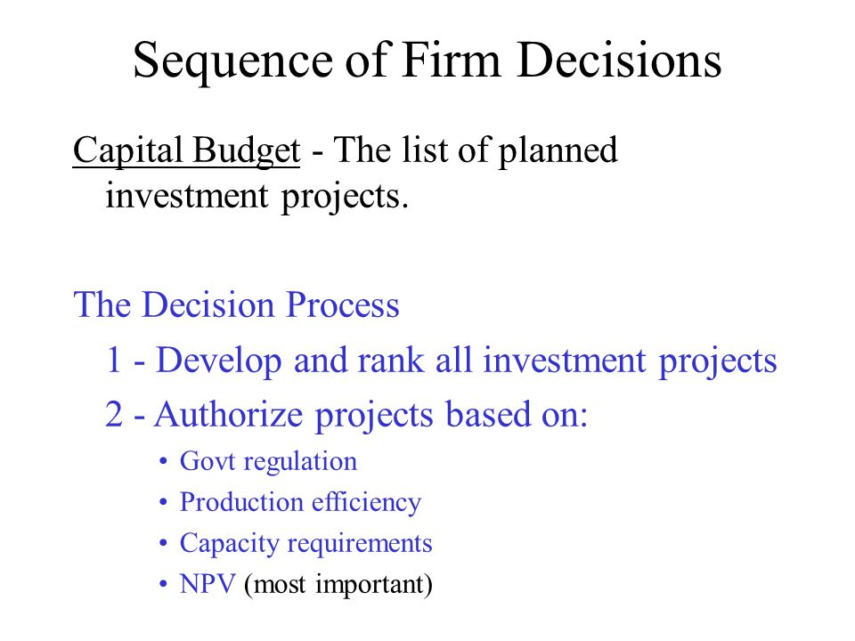 Sequence of Firm Decisions