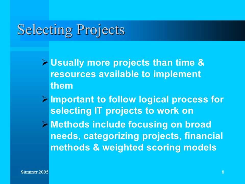 why should an organization rely on roi to select projects Under the irr decision criteria, project l has a lower irr, and the firm would choose project s why does the decision criteria of internal rate of return and net present value give different answers in a capital budgeting analysis.