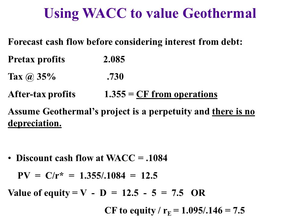 Using WACC to value Geothermal