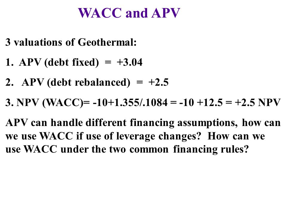 WACC and APV 3 valuations of Geothermal: 1. APV (debt fixed) = +3.04