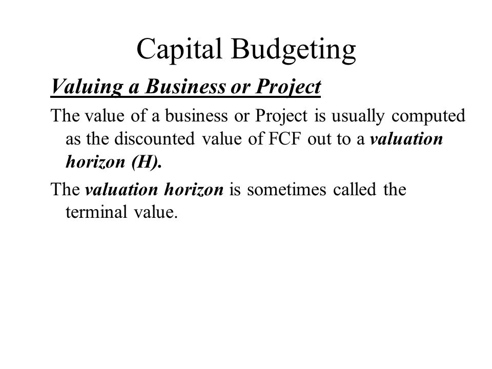 Capital Budgeting Valuing a Business or Project