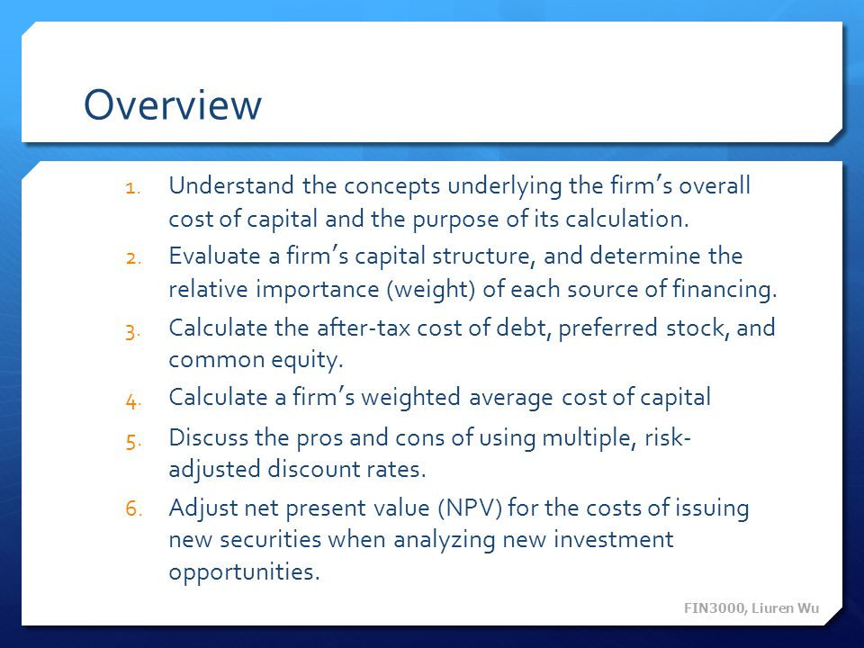 weighted average cost of capital pros and cons Chapter 14 cost of capital  calculate a firm's weighted average cost of capital 5  pros and cons of the dividend growth.