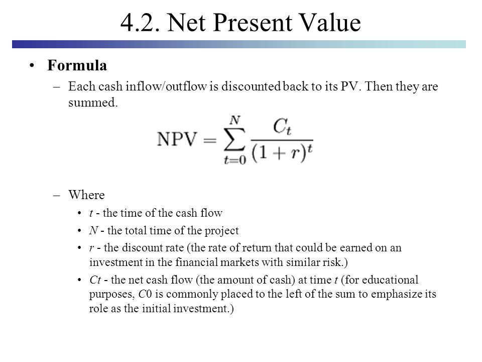 Determining net present value discount rate