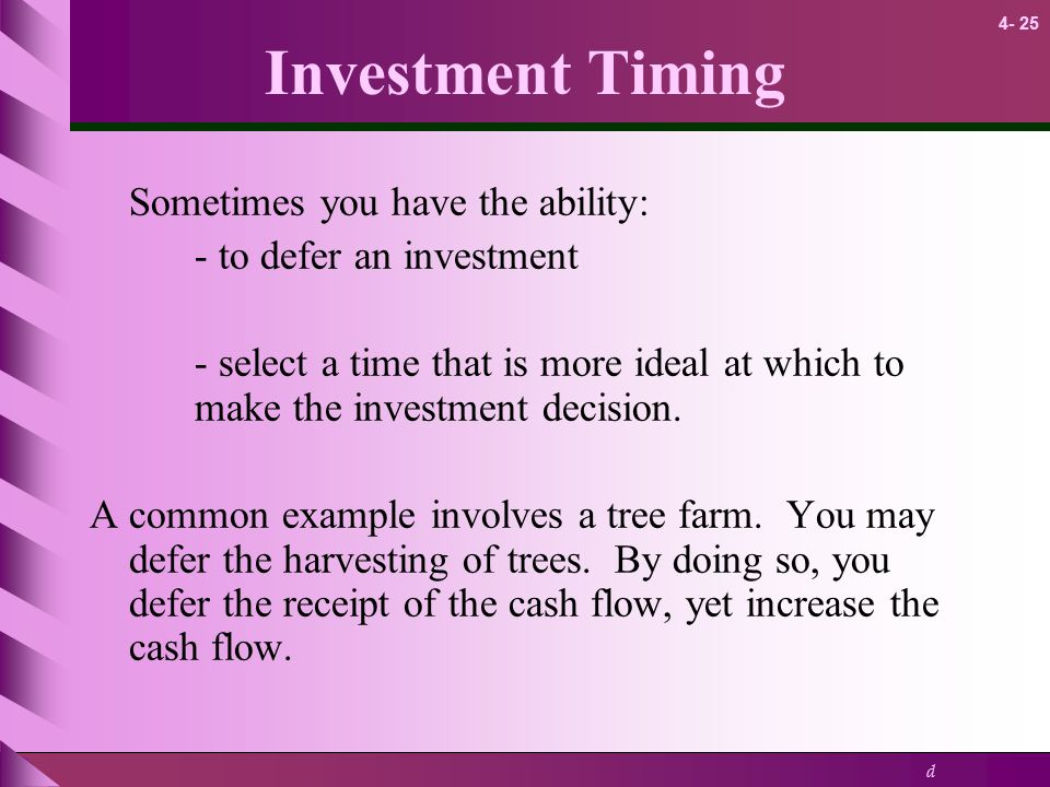 Investment Timing Sometimes you have the ability: