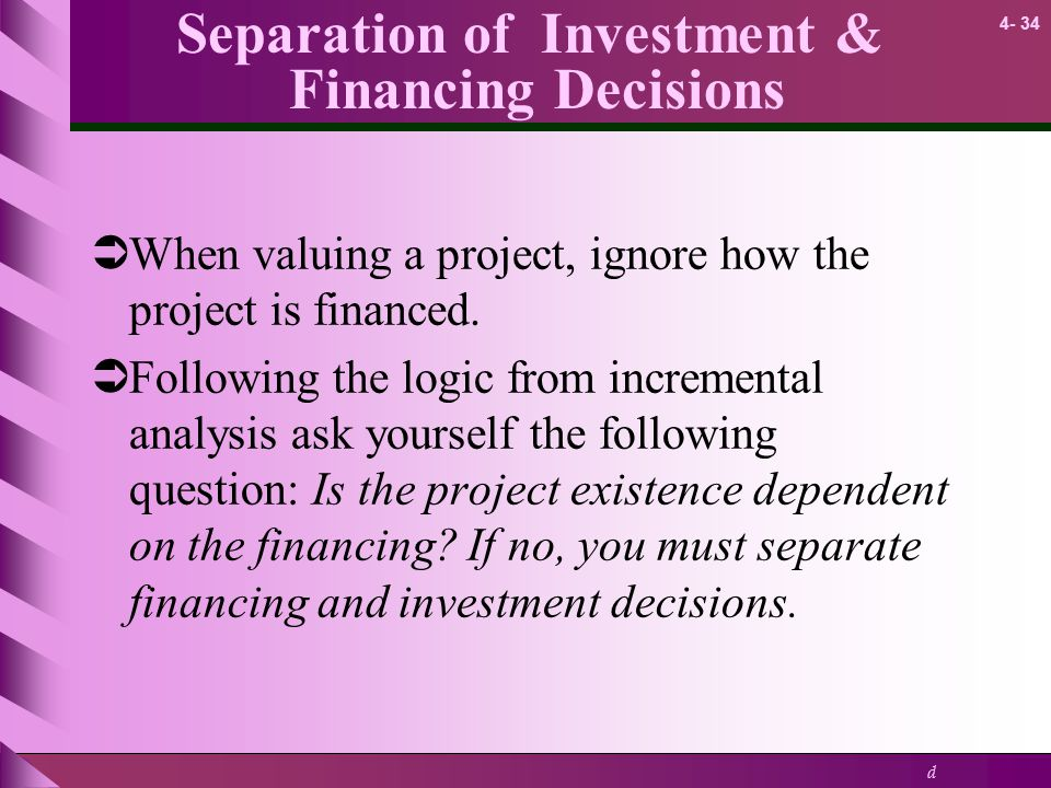 Separation of Investment & Financing Decisions