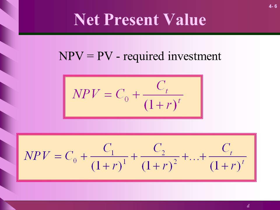 NPV = PV - required investment