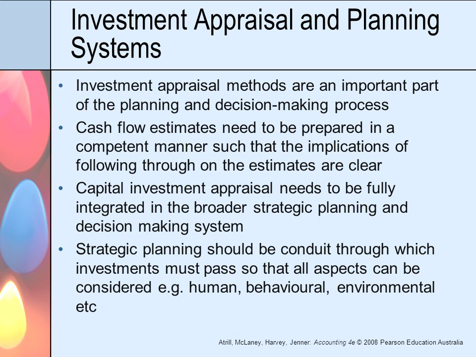 xercises for investment appraisal Net present value is one of many capital budgeting methods used to evaluate physical asset investment projects in which a business might want to invest.