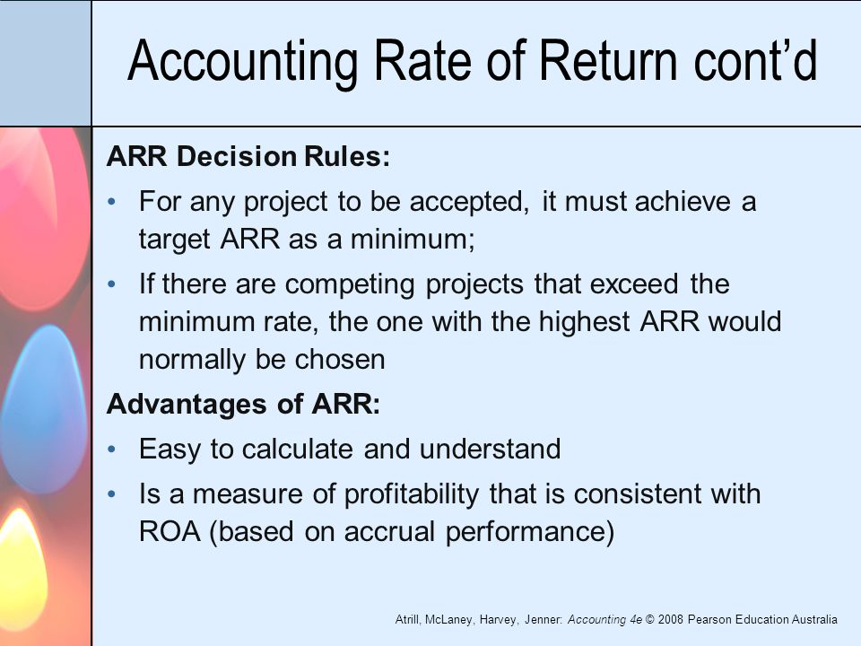 accounting rate of return disadvantages Disadvantages of the accounting rate of return points for consideration when using the accounting rate of return are: unlike other methods of investment appraisal, the arr is based on profits rather than cashflow.