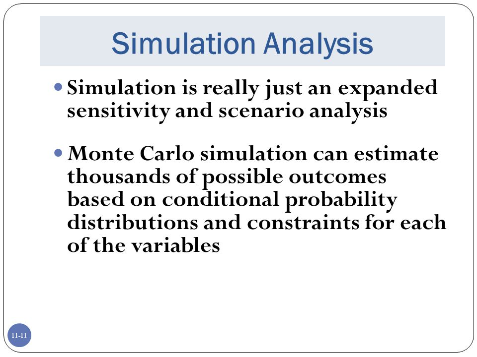 sensitivity analysis scenario analysis and simulation analysis Define (a) sensitivity analysis, (b) scenario analysis, and (c) simulation analysis if ge was considering two projects (one for $500 million to develop a satellite communications system and the other for a $30,000 new truck) on which project would the company be more likely to use a simulation anal.