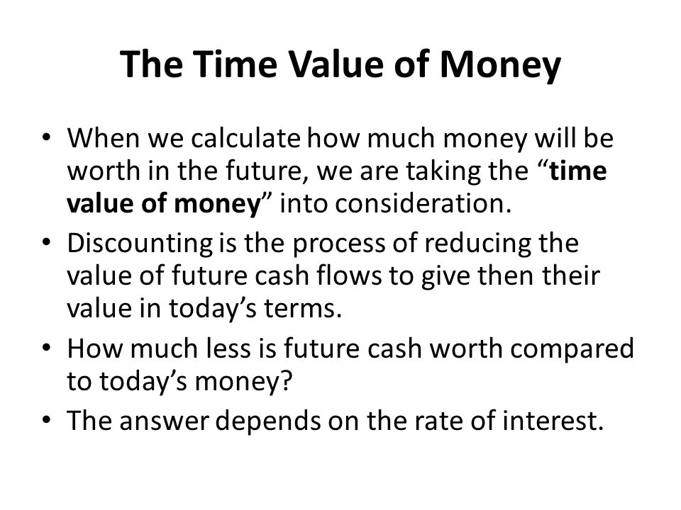 The Time Value of Money When we calculate how much money will be worth in the future, we are taking the time value of money into consideration.