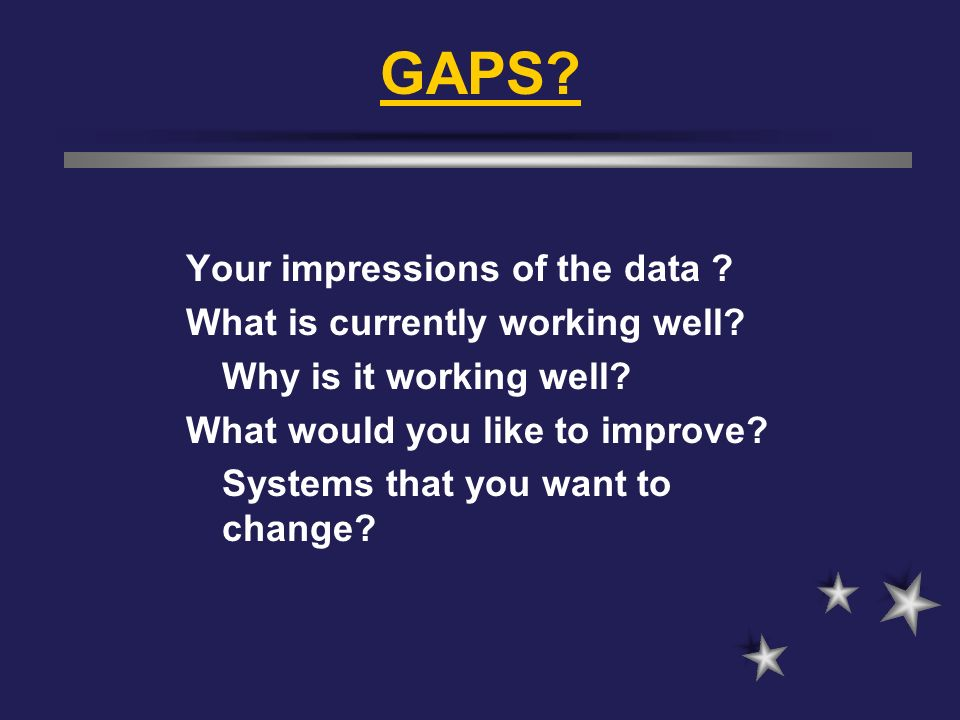 GAPS Your impressions of the data What is currently working well