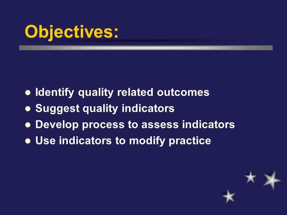 Objectives: Identify quality related outcomes