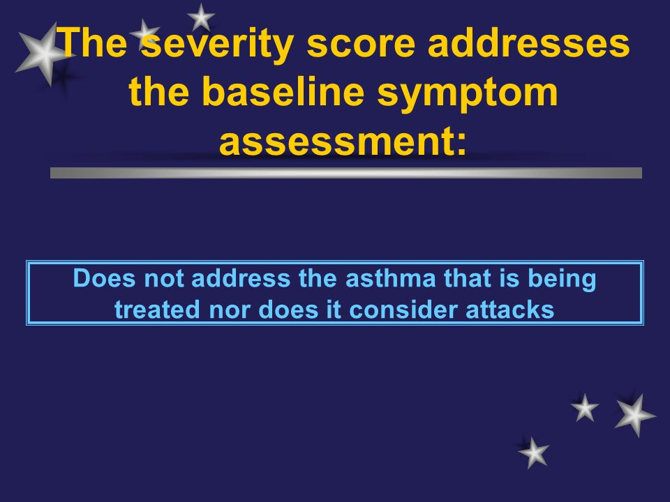 The severity score addresses the baseline symptom assessment: