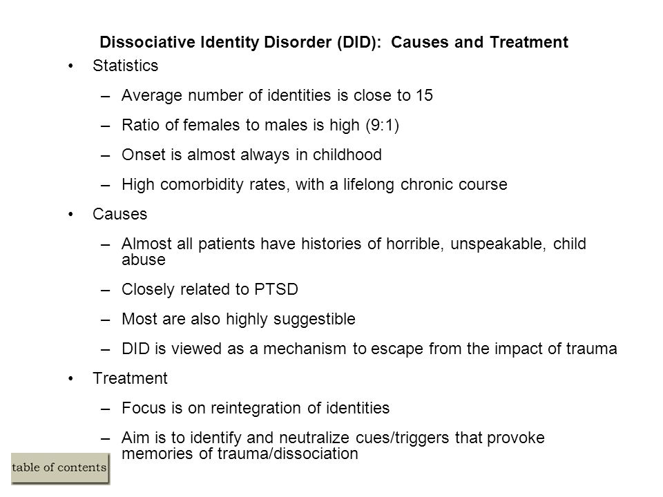 dissociative identity disorder diagnosis causes and Psychiatry dissociative identity disorder (did) — causes and diagnostic criteria see online here dissociative identity disorder is a rare condition that is characterized by the.