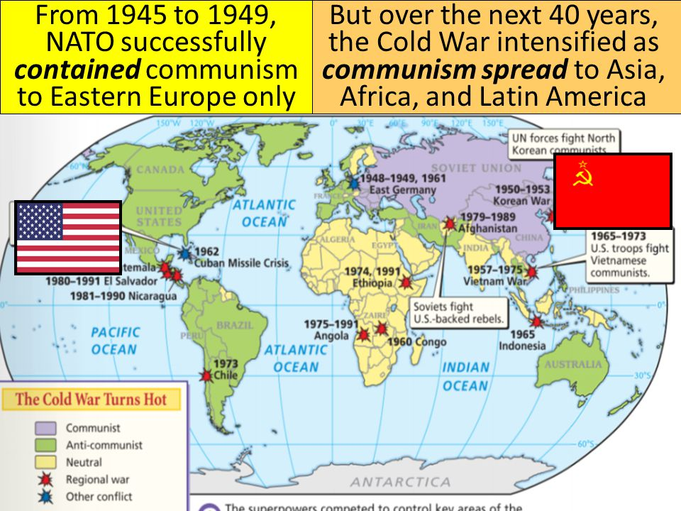 but over the next 40 years the cold war intensified as communism spread to asia