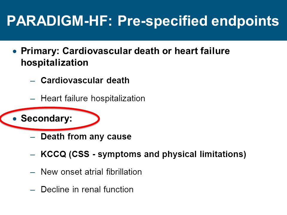 PARADIGM-HF: Pre-specified endpoints