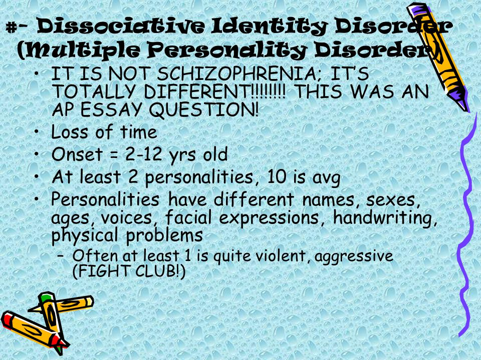 psychological disorders ppt  dissociative identity disorder multiple personality disorder