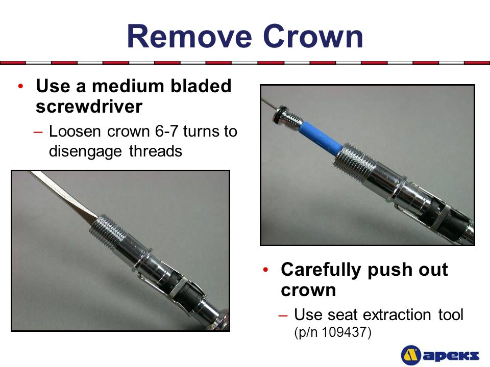 Remove Crown Use a medium bladed screwdriver Carefully push out crown