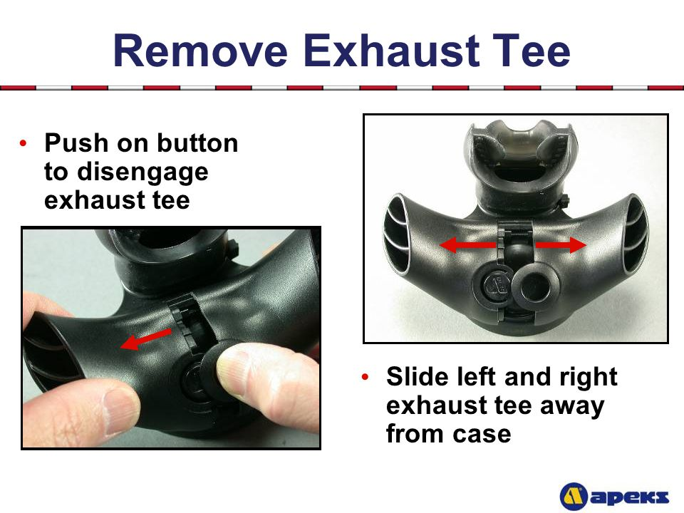 Remove Exhaust Tee Push on button to disengage exhaust tee