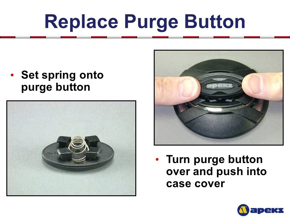 Replace Purge Button Set spring onto purge button