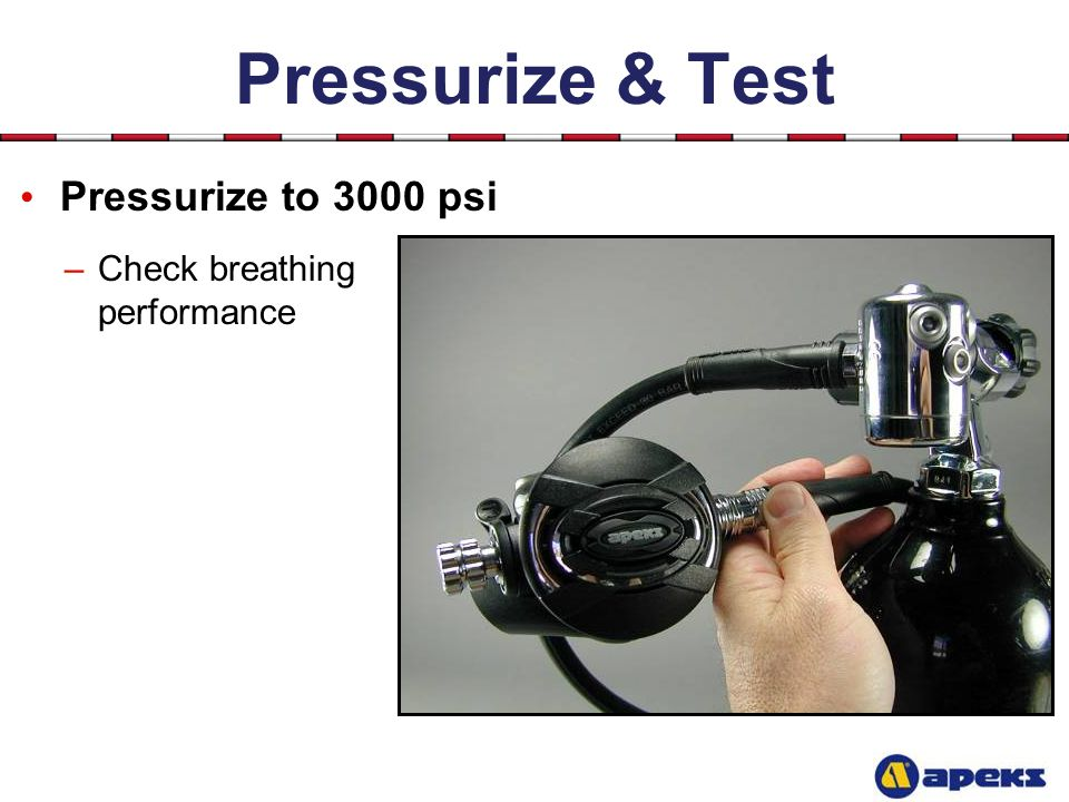 Pressurize & Test Pressurize to 3000 psi Check breathing performance