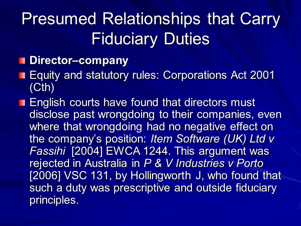 fiduciary relationship between directors and the company