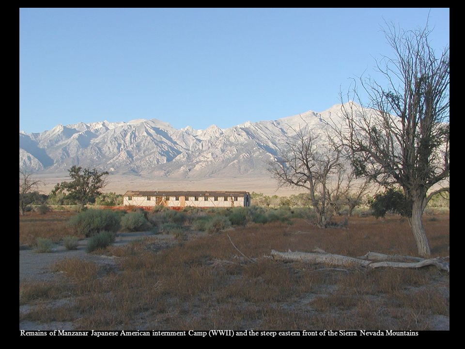 Remains of Manzanar Japanese American internment Camp (WWII) and the steep eastern front of the Sierra Nevada Mountains