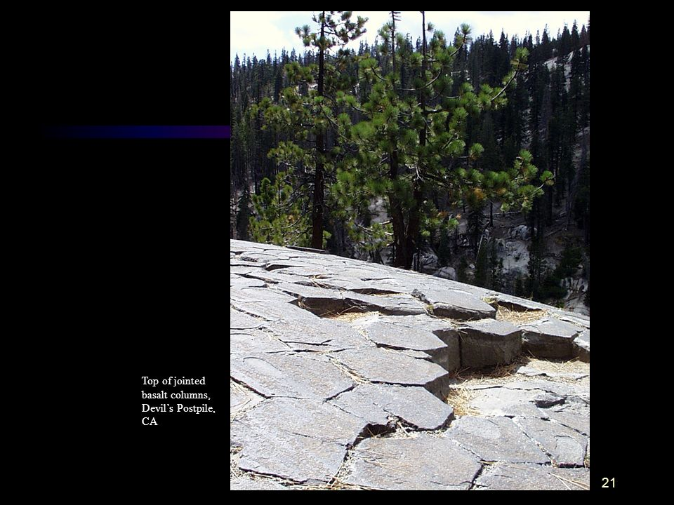 Top of jointed basalt columns, Devil's Postpile, CA