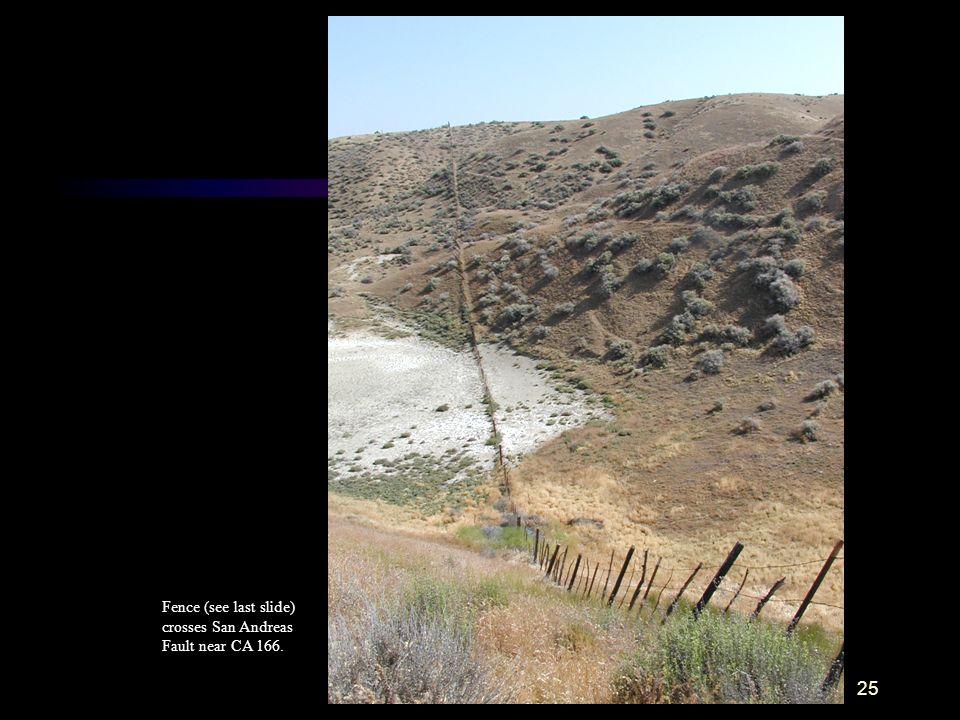 Fence (see last slide) crosses San Andreas Fault near CA 166.