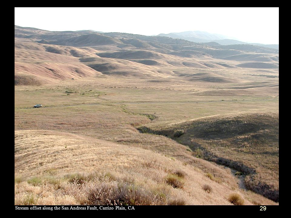 Stream offset along the San Andreas Fault, Carrizo Plain, CA