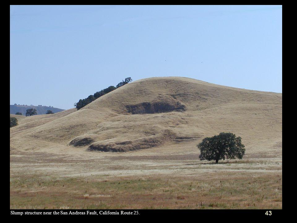 Slump structure near the San Andreas Fault, California Route 25.