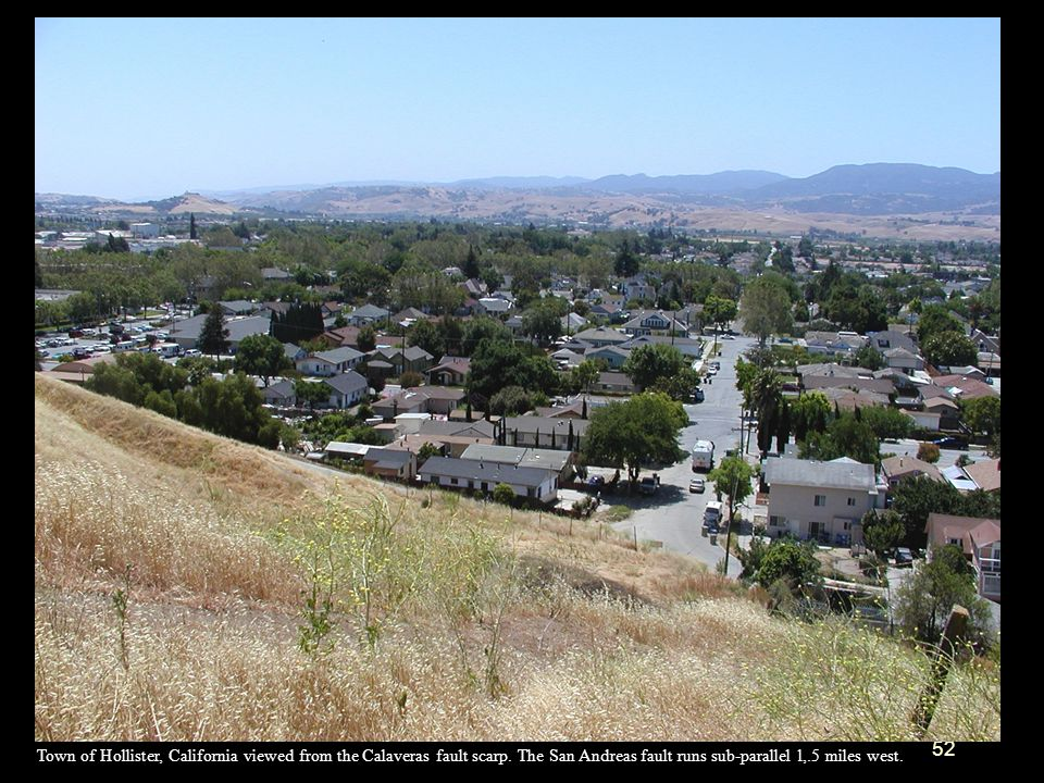 Town of Hollister, California viewed from the Calaveras fault scarp