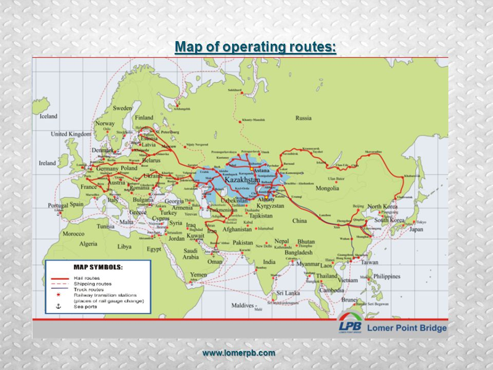 Map of operating routes:
